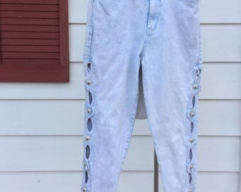 Vintage Womens Size 14 High Waisted Mom Jeans Light Wash