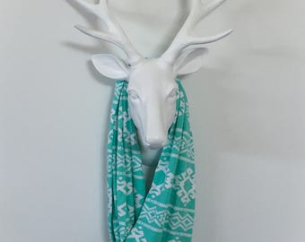 Infinity Scarf - Turquoise & White Aztec Stripe - Cotton Jersey Blend Knit