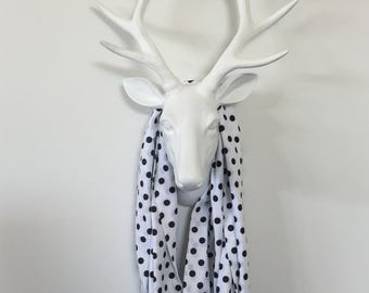 Infinity Scarf - Black Dots on White - Scatter Dots - Cotton Spandex Jersey
