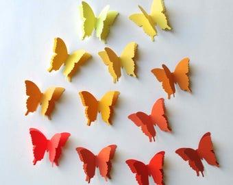 3D Paper Butterflies, baby shower decor, birthday party accent, garden party decor, yellow butterflies, orange butterflies
