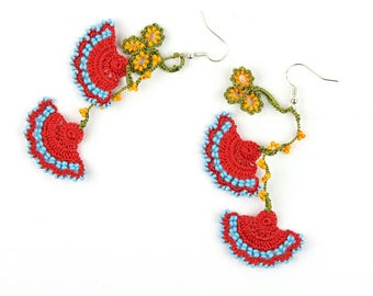 Crochet Earrings- Handmade Red Blue Crochet Floral Dangle Earrings, Ethnic Earrings, Oya Earrings, Beaded Earrings, Bohemian Jewelry