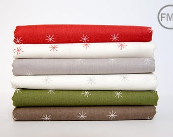 Half Yard Bundle Merrily Snowy Stars, 6 Pieces, Gingiber, 100% Cotton, Moda Fabrics, 48213