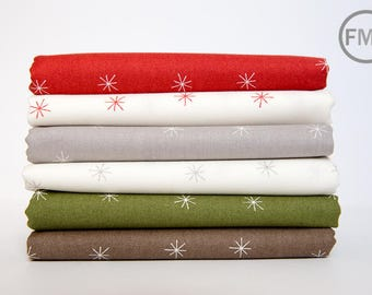 Fat Quarter Bundle Merrily Snowy Stars, 6 Pieces, Gingiber, 100% Cotton, Moda Fabrics, 48213
