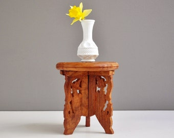 Vintage Wooden Folk Art Plant Stand or Plant Holder