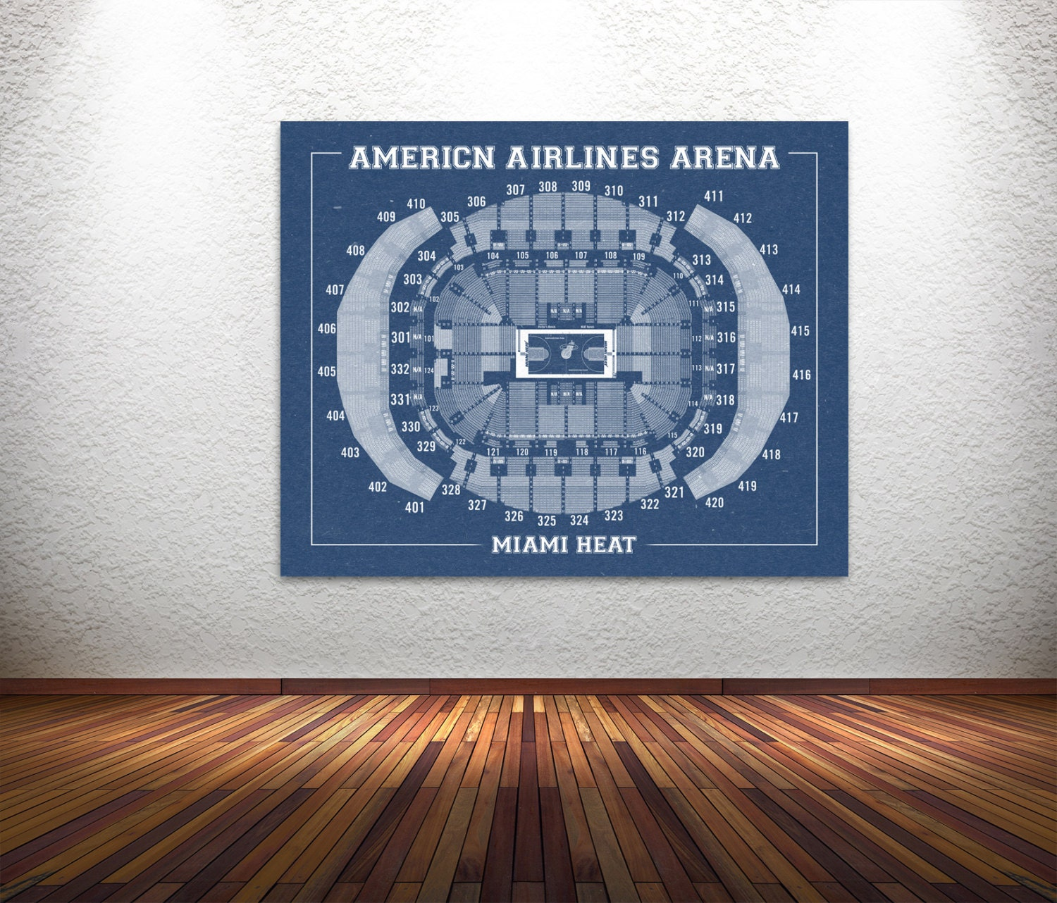 Vintage print of american airlines arena seating chart on for 12x15 calculator