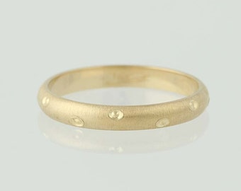 Textured Band Ring - 14k Yellow Gold Dots Brushed Finish Size 6 3/4 - 7 N4889