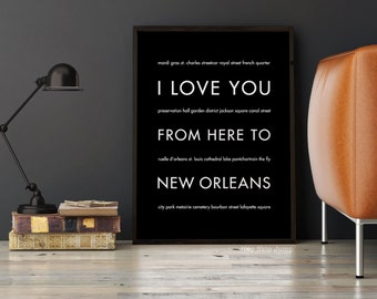 New Orleans Art Print, New Orleans Decor, NOLA Gift, Louisiana, Travel Poster, Mardi Gra Gift, I Love You From Here To New O
