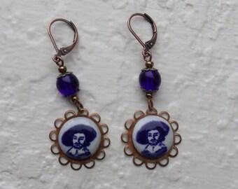 Rembrandt Earrings - Delft, art earrings, blue/white