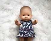 Doll clothing set. To suit 21cm miniland dolls. Doll nappy/diaper, doll reversible dress, doll dribble bib. Doll dress. Girl doll clothes.