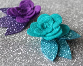 Baby Hair Clips - Set of  Baby Snap Clips - Blue Hair Clip - Purple Hair Clip  - Glitter Hair Clip - Felt Hair Clip -Ready to ship