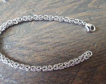 Thin Stainless Steel Byzantine Bracelet - Chainmaille
