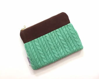 SALE - Cable Knit Sweater Wristlet in Mint Green