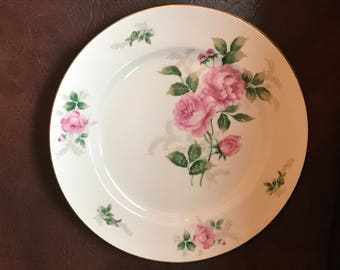 Retired ARKWRIGHT Princess Rose Hammersley 10 3/4 inch . Pink rose,Gray Ferns,Gold Trim. Shabby Shiek .Fine bone China .Japan