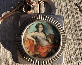 ART Nouveau Baroque Lass Pendant /Brass Raven Skull/Aqua Sea Glass /Malachite and Blue Czech Glass LONG Chain. Blues & Oranges.OOAK