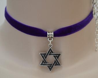 STAR Of DAVID Thick Charm PURPLE 10mm/1cm Velvet Ribbon Choker - vp.. or choose another colour velvet :)