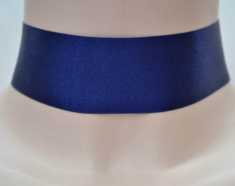 Plain Classic NAVY BLUE Double Satin WIDE 35mm 1.5 inch Ribbon Choker Necklace- fr... or other colours, please have a look :)