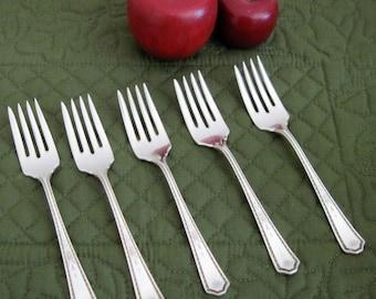 6 Antique Vintage Oneida Rogers Silverplate Salad Cake Dessert Forks Oakland Pattern Circa 1920's
