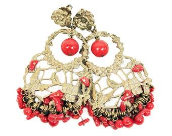 Red Beaded Gold Earrings