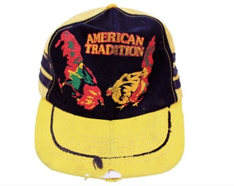 1970s American Tradition Cock Fight Trucker Hat