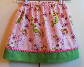 Pretty Pink Mermaid  Skirt ( 18 mos, 24 mos, 2T, 3T, 4T, 5, 6, 7, 8, 10)