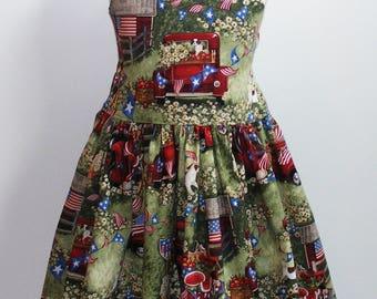Vintage Patriotic Picnic Tie Back  Dress size 6 RTS