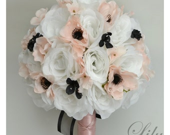 """17 Piece Package Wedding Bridal Bride Maid Of Honor Bridesmaid Bouquet Boutonniere Corsage Silk Flower BLACK BLUSH """"Lily of Angeles"""" BSBK01"""