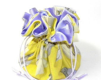 Jewelry Drawstring Travel Bag - Organizer Pouch - Yellow, lavender and cream floral fabric