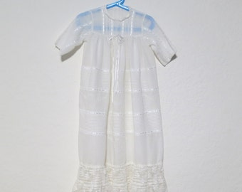 LONG Cotton Pintuck Christening Gown Unisex Vintage White Baptism beaded. Baby infant baptism dress. Lace ruffle pearl beads
