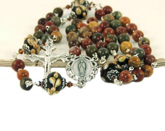 Our Lady of Guadalupe Rosary, Jasper Gemstone Beads, Handmade in New Zealand