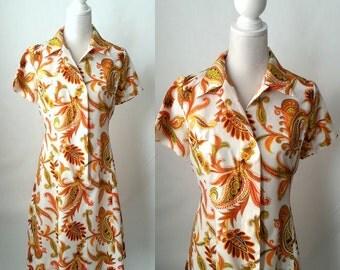 Vintage 1970s Orange & White Paisley Casual Dress, Large Size