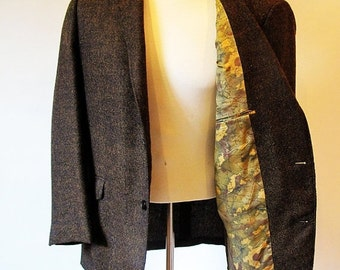 COAT SALE Vintage 60s Brown Mens Jacket, 1960s Brown Wool Blazer, Mad Men Clothes, Brown Coat