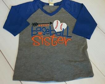Baseball Sister with Heart Baseball on RAGLAN girls shirts- Embroidered girls Vneck Raglan Shirts-Infant to Girls XL