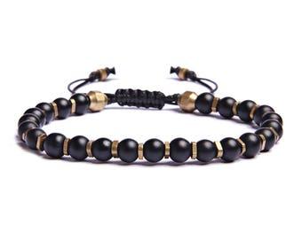 Men's Modern Bracelet - Black and gold bracelet - Faux black leather cord and sliding knot closure - Men's Accessories - Men's Jewelry