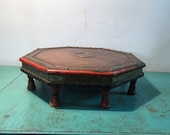 Antique Indian low coffee  table,  octagonal coffee table, Antique from Rajasthan, 19th century Indian furniture,