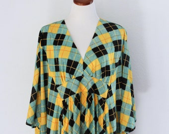 1970s Argyle Caftan Green Yellow Polyester V Neck Batwing Maxi Dress Loungewear Womens Vintage Medium Large