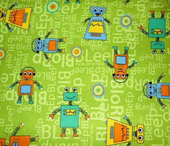 Items similar to retro baby robot fabric nursery for Retro nursery fabric