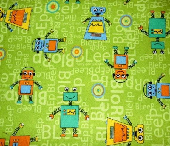 Items similar to retro baby robot fabric nursery for Boy nursery fabric