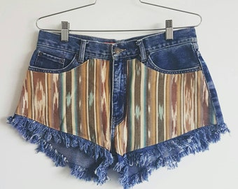 Vintage Just Jeans high waisted shorts with fringe by ANTIapparel