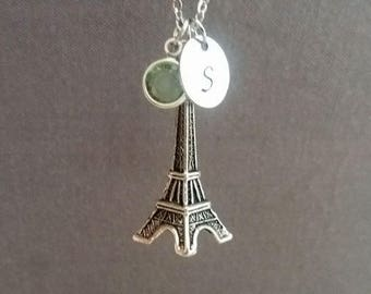 Silver Eiffel Tower Necklace. Paris France Landmark. Initial Necklace. Eiffel Tower.  Personalized Gift. European Travel Jewelry