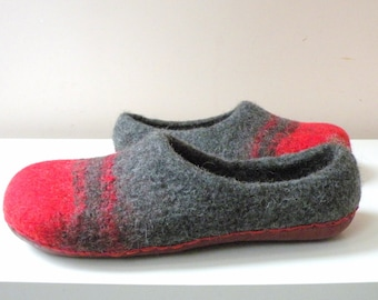 Grey and red handmade Felted slippers woolen shoes grey shoes woolen slippers