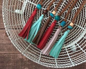 Leather Tassel Necklace // Acorn Off-White Palomino Turquoise // Rosebud Originals