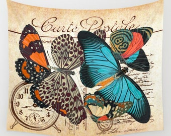 Vintage Postcard BUTTERFLY Tapestry, Wall Decor, Handwriting script, Turquoise, Orange, Black, Cream Beige Antique French Customizable Color