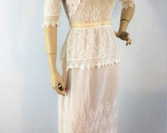 Early 1900s antique Edwardian lawn dress- collectible mixed lace embroidered ivory wedding dress- extra small