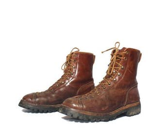 SALE 8 D | Men's Vintage Monkey Boot Lace Up Ankle Boot Rugged Insulated Hikers