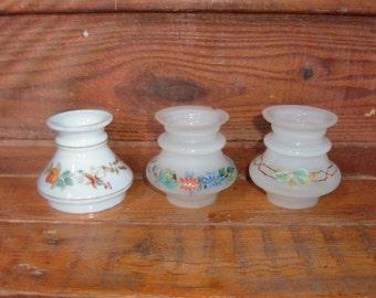 3 Small Vintage Glass Shades for Miniature Oil/Kerosene Lamps-Handpainted-#41