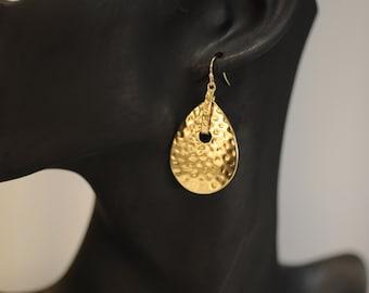 Dangle Earrings, Hammerd Gold Earrings, Gold Plated Earrings, Gift for her, Short Gold Earrings, Drop earrings, Birthday gift