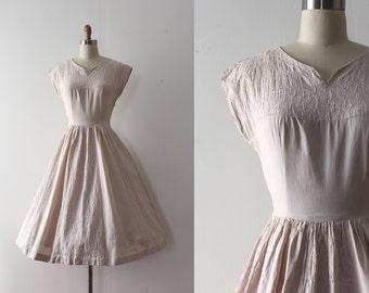 vintage 1950s Carole King dress // 50s creamy beige cotton day dress
