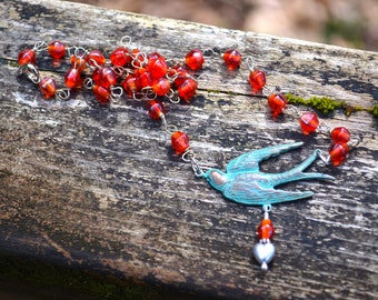 Blue Bird Necklace with Orange Glass Bead Chain colorful handmade jewelry gift