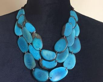 Tagua Bib Necklace/ Blue Tagua Necklace / Tagua Jewelry/ Boho Necklace /Statement Necklace/ Boho/ Bohemian / Folk