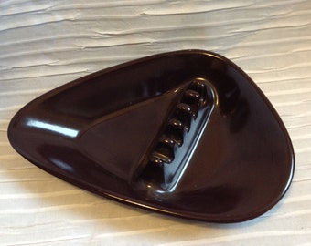 Vintage 1960 Anholt plastic ashtray.  Dark Brown Modernist, Groovy, Spaceage.  Eames  Era.